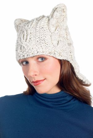 Free Knitting Pattern Hat With Ears : Quick Cabled Hat Pattern (Knit) Cute cats, Easy patterns ...