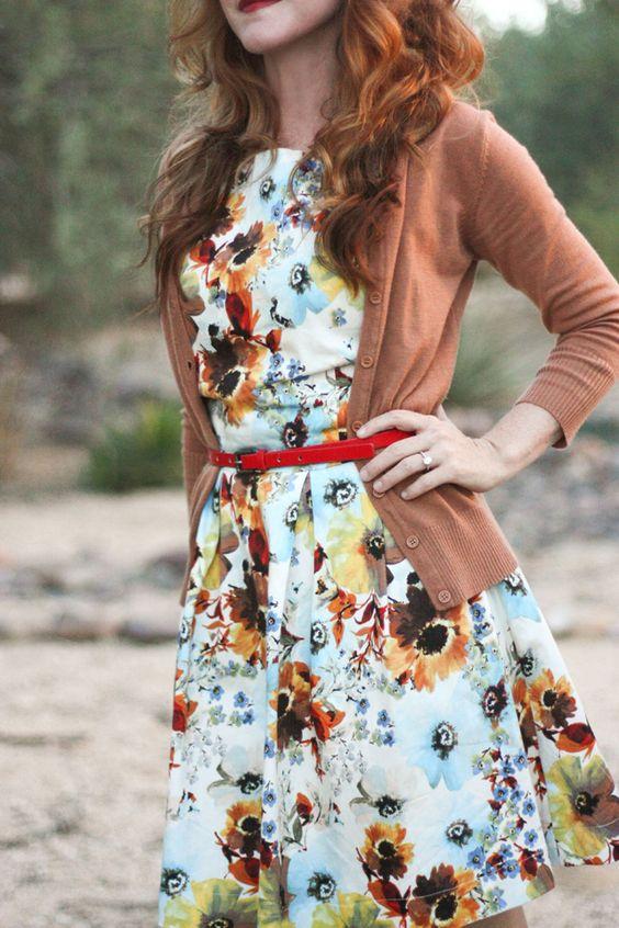 floral dress cardigan