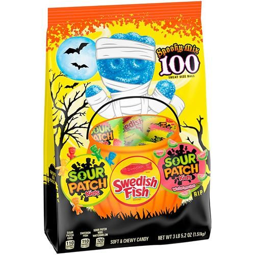 Sour Patch And Swedish Fish Spooky Mix Treat Size Bags Bag Of 100 Sour Patch Kids Sour Patch Swedish Fish Candy