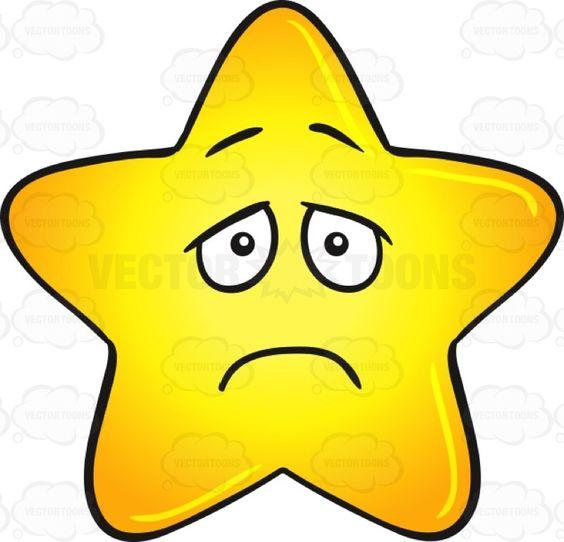 Sad Star Clip Art Single gold star cartoon with depressed look on face ...