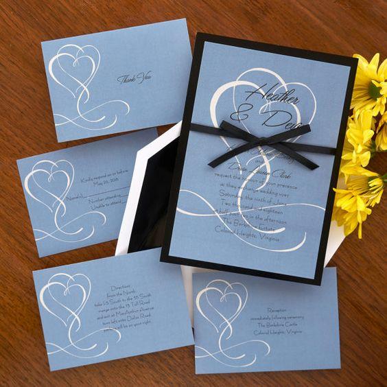 Flourished Double Hearts Invitation Set  by TheAmericanWedding