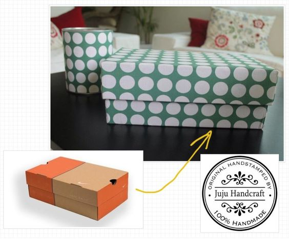 Make decorative storage boxes and cans from old shoe boxes and milk cans. All lined with fabric!