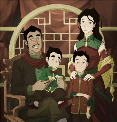 Mako and Bolin's parents. This is one of my favourite drawings of the brothers parents, mainly because of how well they both look together. Their clothes are a perfect mix of Fire Nation and Earth Kingdom and the children look very similar to the parent with the same power.