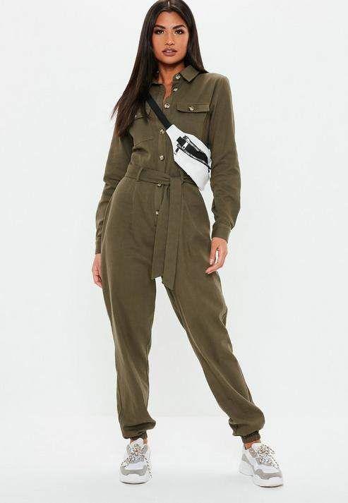 Womens Khaki Green Utility Long Sleeve Belted Playsuit Romper