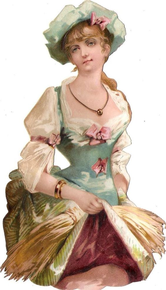 Oblaten Glanzbild scrap die cut chromo Dame  17cm lady woman girl Mädchen Korn: