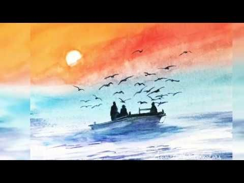 Fishing Boat At Sunset Watercolor Painting Youtube Watercolor