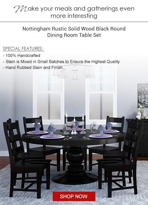 Black Round Dining Table, Solid Wood Round Dining Table Sets
