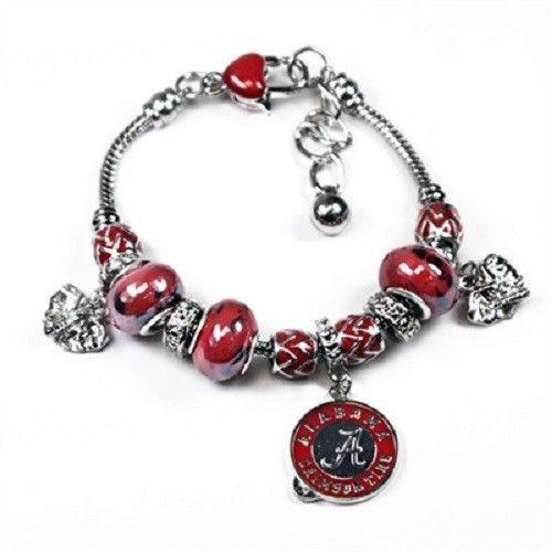 Alabama Charm Bracelet: NCAA Officially Licensed Alabama Crimson Tide Triple Bead