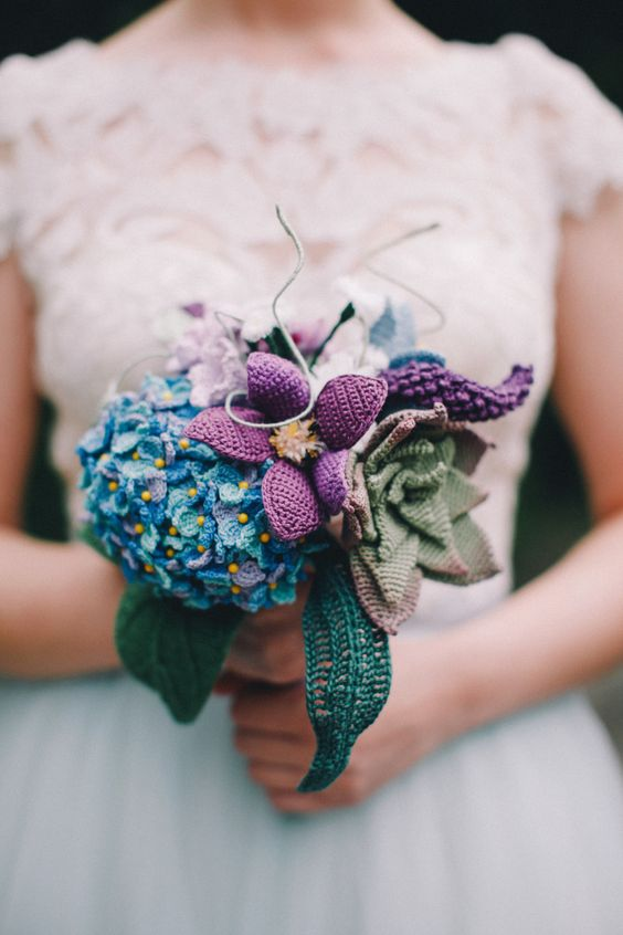 Crochet wedding flower bouquet  With crocheted hydrenga, succulent, clematis,  lupines, and more!