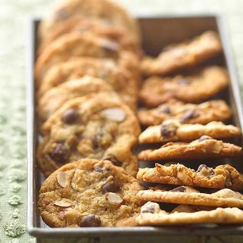 Daily Dish: Sweet-Salty Almond Chocolate Chippers. Get more Daily Dish recipes here: http://bhgfood.tumblr.com/post/28125464189/daily-dish-almonds-and-chocolate-make-an