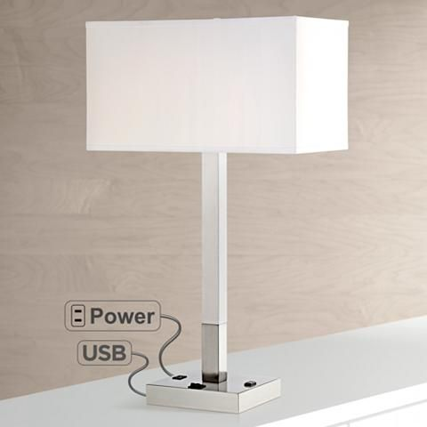 Bryce Metal Table Lamp With Usb Port And Utility Plug 8k531
