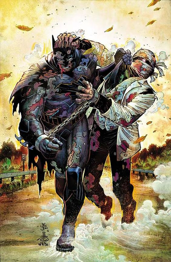"""DC COMICS (W) Scott Snyder (A) John Romita & Various (CA) John Romita, Danny Miki """"My Own Worst Enemy"""" part 2! All aboard the train ride from hell! Batman and Two-Face continue their journey to Harvey"""