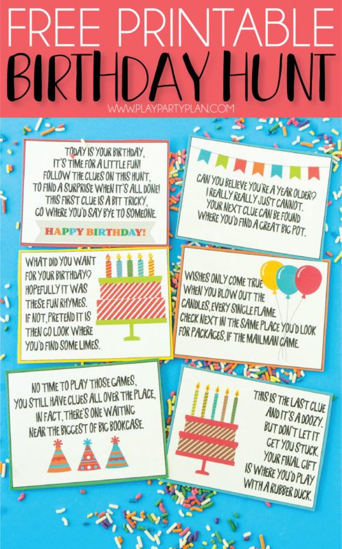 A Super Fun Birthday Scavenger Hunt Free Printable Play Party Plan Scavenger Hunt Birthday Birthday Fun Free Birthday Stuff