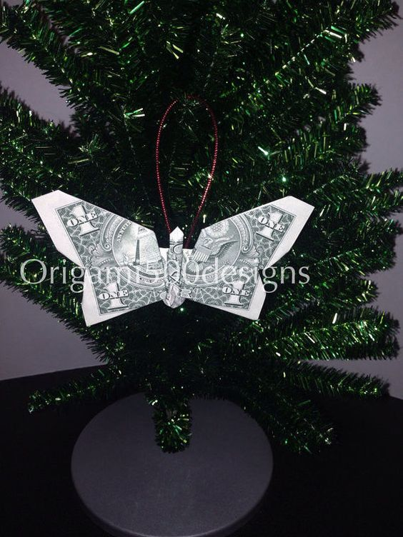 Money Origami BUTTERFLY Christmas Tree Ornament ... - photo#34