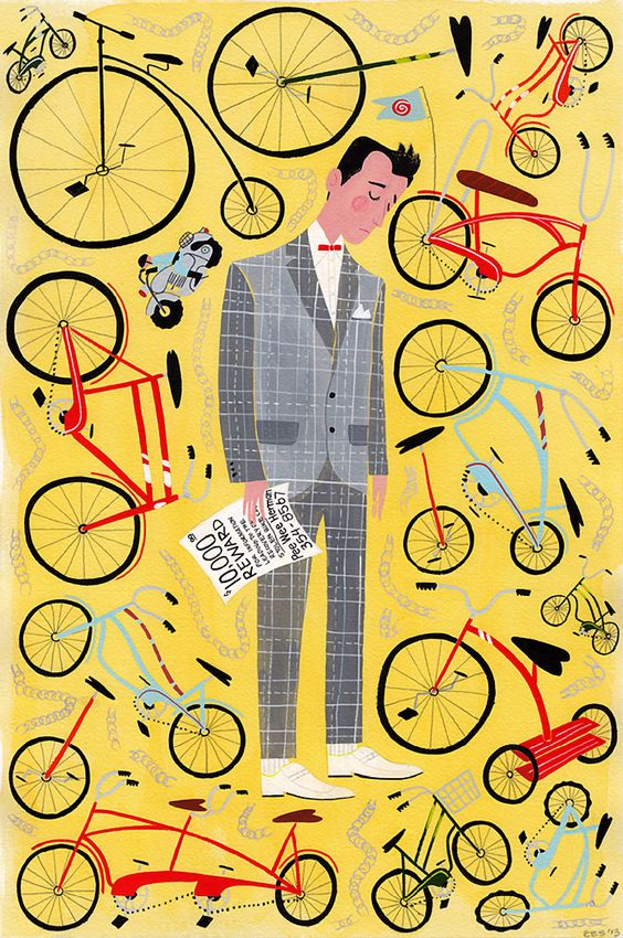 Pee Wee puts up his reward posters and sees every other bike but his own.: