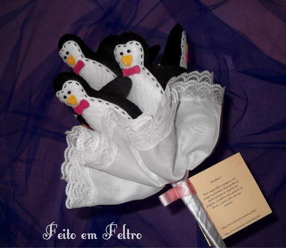 Buquê de pinguins. Opção para as noivas que querem fugir do convencional e também porque simbolizam a união eterna.
