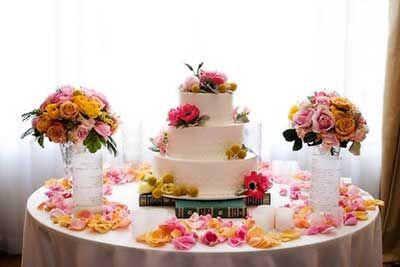 Decoração da Mesa do Bolo de Casamento Simples e Fácil