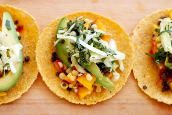 peachy sweet corn succotash tacos with basil slaw