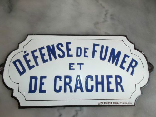 belle plaque emaillee bombee defense de fumer cracher. Black Bedroom Furniture Sets. Home Design Ideas