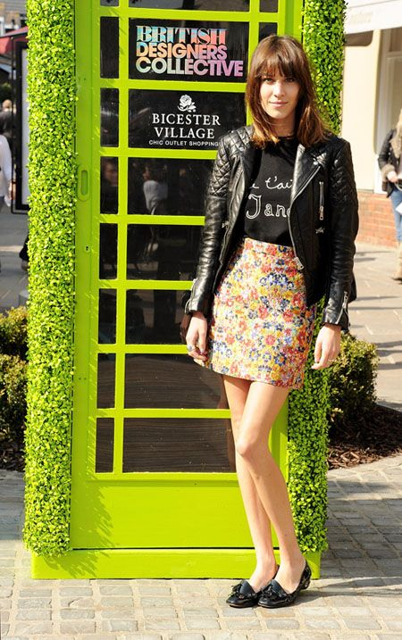Alexa Chung at The Bicester Village British Designers Collective Launch, March 2012  Exact Sweater  Similar Sweater: 1, 2, 3, 4, 5, 6, 7, 8  Similar Jacket: 1, 2, 3, 4, 5, 6, 7, 8  Exact Shoes (Purple though?)  Similar Shoes: 1, 2, 3, 4  Exact Skirt: Celine Resort  Similar Skirts: 1, 2, 3, 4, 5, 6, 7, 8