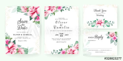 Wedding Invitation Card Template Set With Watercolor Floral Arrangements And Border Flowers Decoration For Save The Date Greeting Rsvp Thank You Poster Co