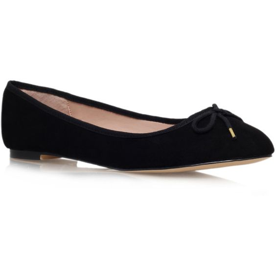 Carvela Kurt Geiger Marcie Flats ($72) ❤ liked on Polyvore featuring shoes, flats, black, flat heel shoes, kohl shoes, flat shoes, black flats and black flat shoes