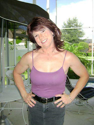 Purple top & jean skirt | Jackie Darling | Flickr