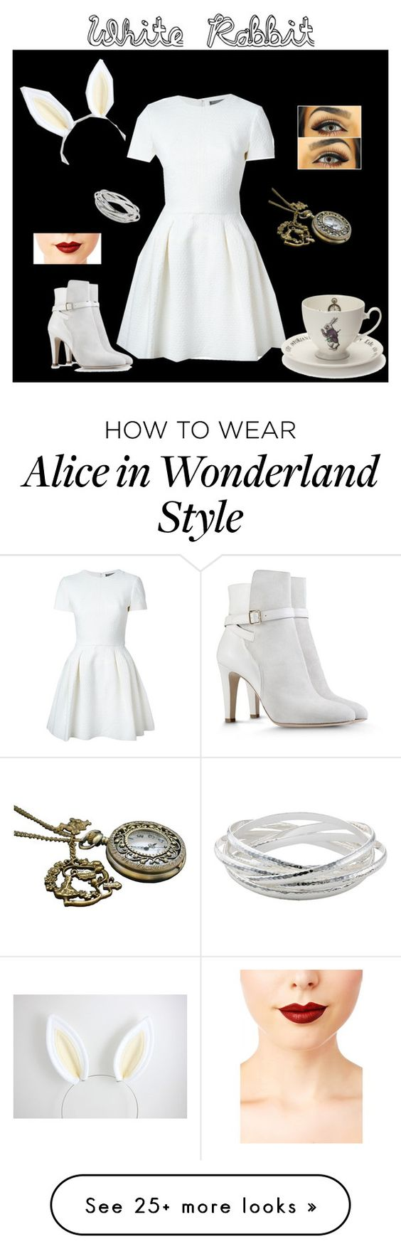 """Follow the White Rabbit"" by emmariestyle on Polyvore featuring mode, Alexander McQueen, Mrs Moore's Vintage Store, Alberta Ferretti, John Lewis en Jeffree Star"