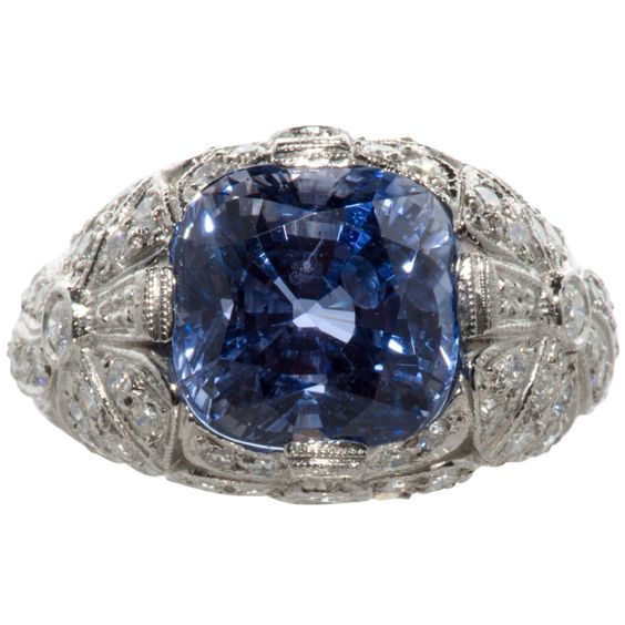 Beautiful French Ceylon Sapphire and Diamond Ring | From a unique collection of vintage cocktail rings at http://www.1stdibs.com/jewelry/rings/cocktail-rings/