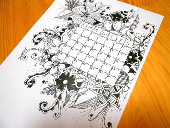 Coloring Pages For January Month : December floral calendar adults coloring children s
