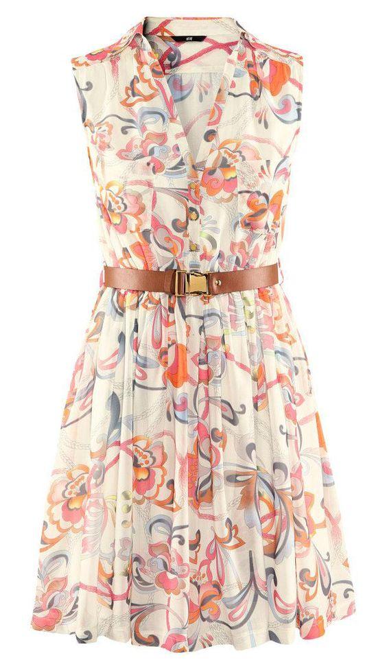 Sleeveless floral chiffon dress with belt