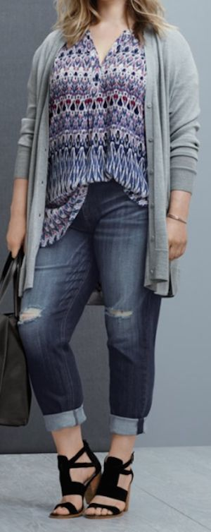 v-neck cardigan paired with a henley tunic