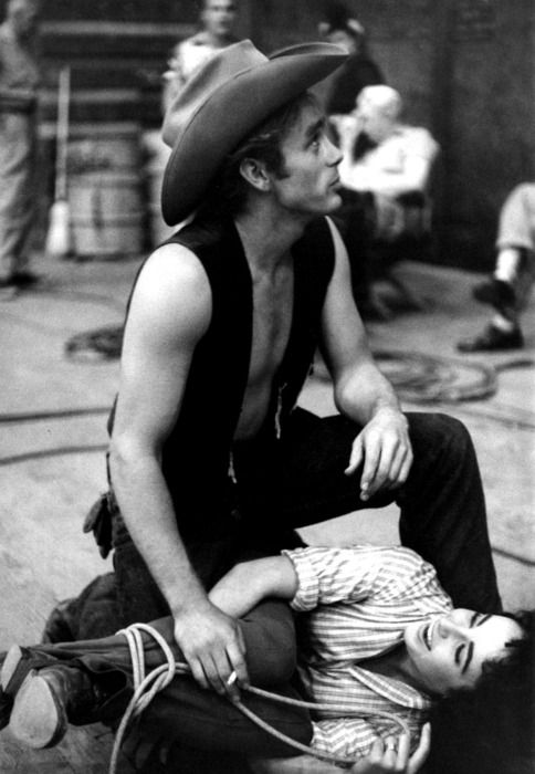 James Dean and Elizabeth Taylor on the set of Giant: