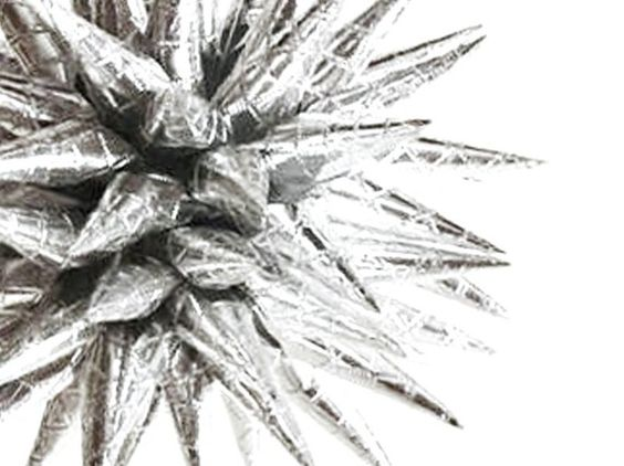 Paper Star Urchin Ornament Futuristic Retro Spiky Silver Decoration Modern Celestial Space Age Polish Star - 4 inch - Quilted Silver. $22.00, via Etsy.