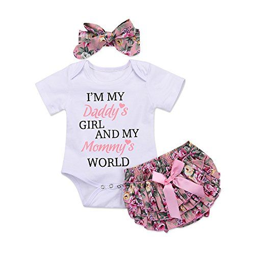 3PCS Cute Newborn Baby Girl Outfits Clothes Tops Romper Shorts Skirt Pants Set