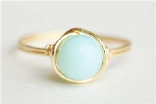 Blue Peruvian Opal wire wrap ring