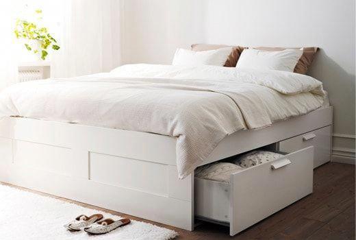 Brimnes Bed Frame With Storage White, Ikea Brimnes Queen Bed With Storage