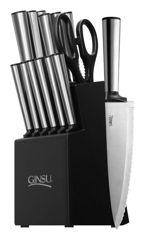 Ginsu Koden Series 14 Piece Stainless Steel Knife Set in Black Block