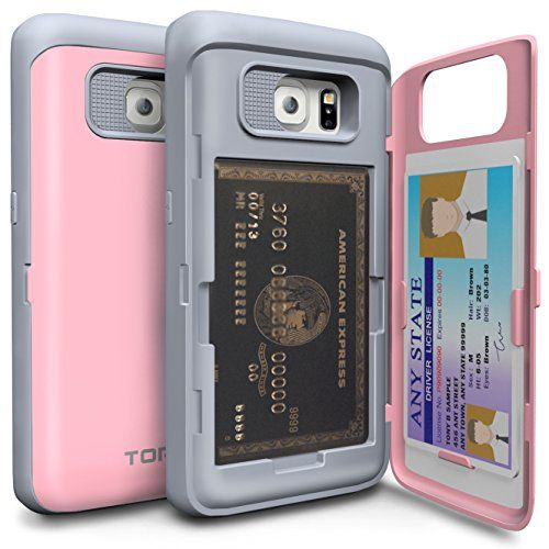 Galaxy S6 Edge Case, TORU® [CARD SLOT] Galaxy S6 Edge Wallet Case [SHOCKPROOF] [KICKSTAND] [MIRROR] Protective Hybrid Card Case for Samsung Galaxy S6 Edge - Pastel Pink (21S6ETCXP-PK)