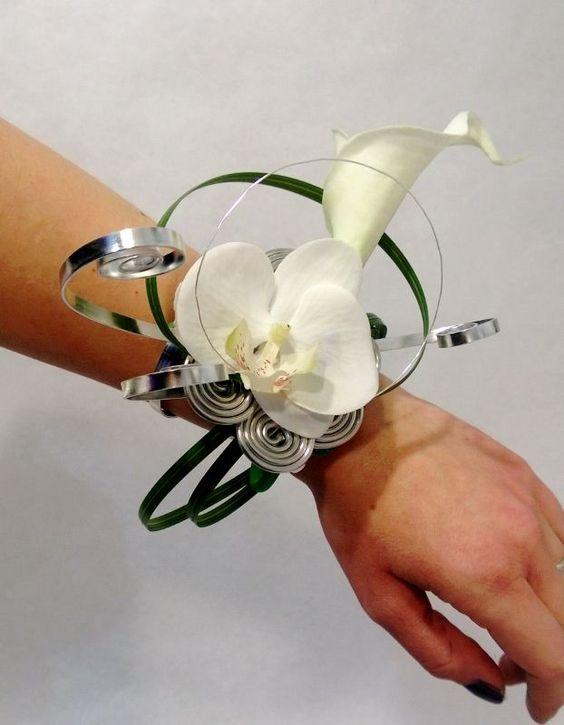 Bouquet de mari e bracelet anneau avec orchid es artificielles blanches bou - Bouquet de mariee artificiel pas cher ...