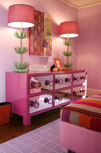 girl's rooms - Stray Dog Designs Sam Buffet Lamp pink linen bed pink walls hot pink mirrored dresser lilac rug Hot pink & green girl's bedroom. Maybe I can place mirrors onto the front of my desk and create my own style