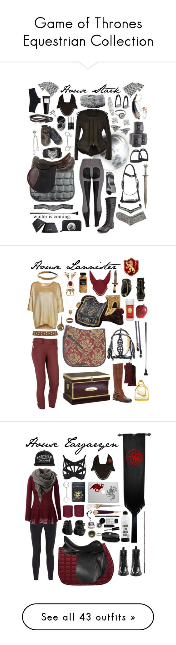 """""""Game of Thrones Equestrian Collection"""" by equine-couture ❤ liked on Polyvore featuring GameOfThrones, Lauren Wolf, Glitzy Rocks, Haider Ackermann, Diesel, Eight & Bob, Tressa, Charlotte Russe, C. Wonder and H&M"""
