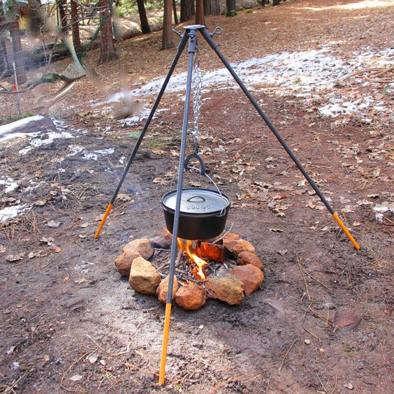 Sturdy tripod campfire stand for use over a wood fire for How to cook in a dutch oven over a campfire