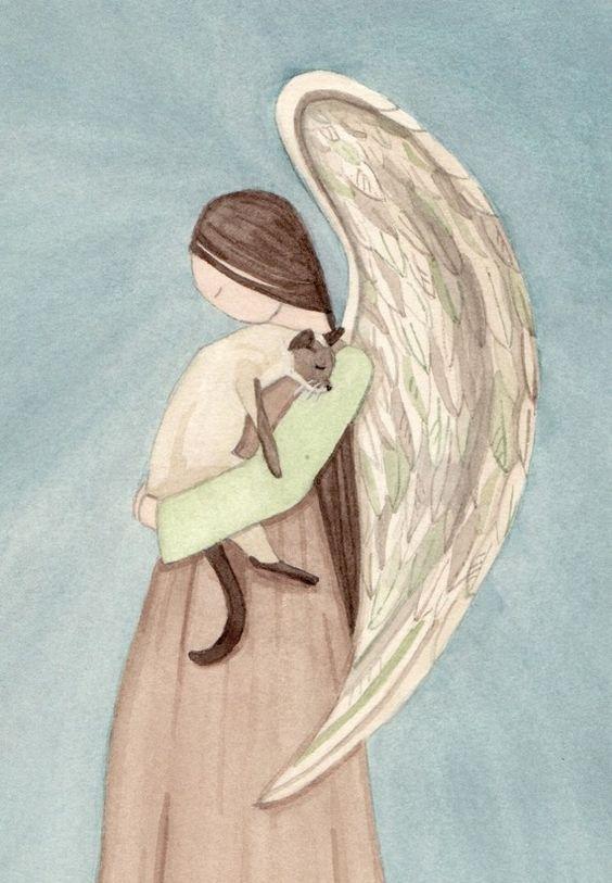 Siamese cat held by angel: