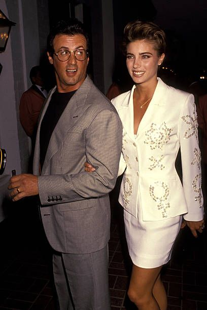 Sylvester Stallone And Jennifer Flavin during Sylvester Stallone's 45th Birthday Party at Chasen's Restaurant in Beverly Hills California United...