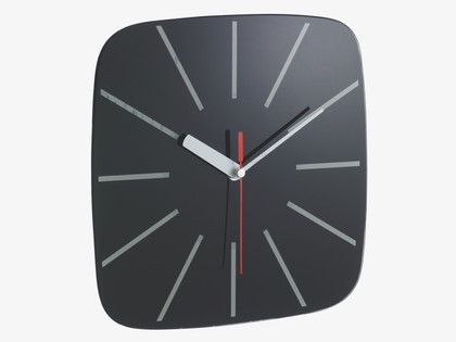Home clock and squares on pinterest for Black glass wall clock
