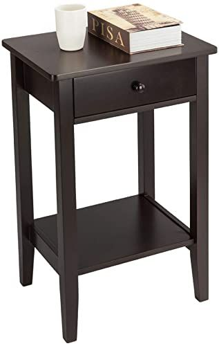 Buy Ssline Tall Wood Nightstand 2 Tier Chairside End Table Drawer