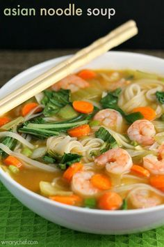 Asian Noodle Soup with Shrimp | easily gluten free (check sauces), easily vegetarian #glutenfree #vegetarian