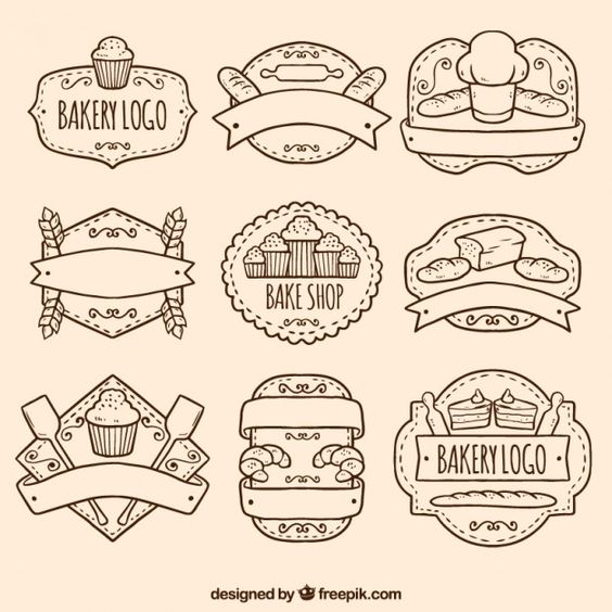 Paquete de logos de panadería dibujados a mano Vector Gratis Más