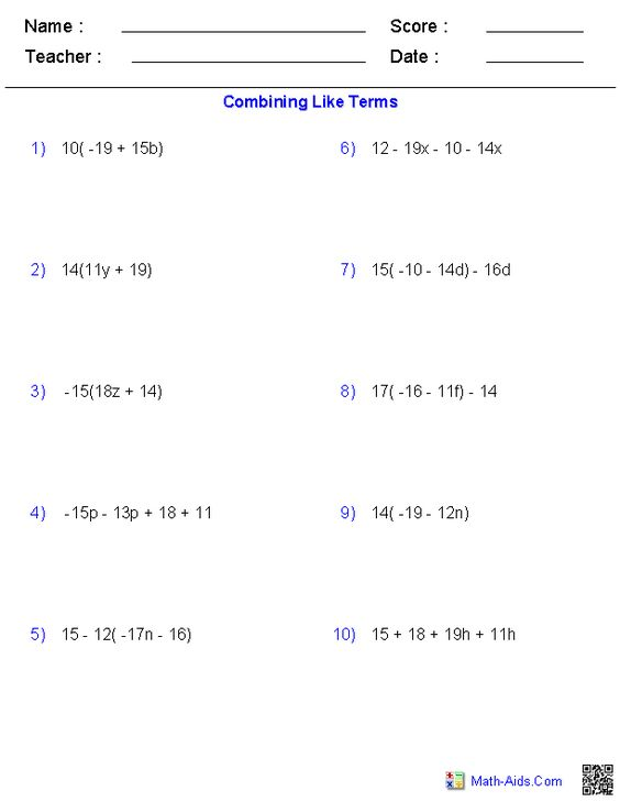 Combining Like Terms Worksheets | Math-Aids.Com | Pinterest ...
